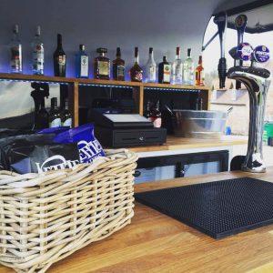 wicker basket on bar